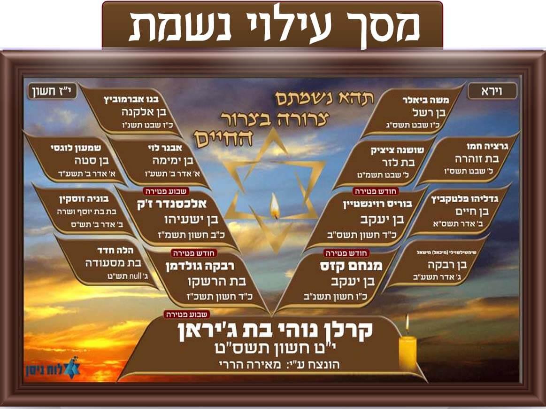 מסך עילוי נשמת, עץ הנצחה, הנצחת נפטרים בבית הכנסת, מציג שמות נפטרים: שבוע פטירה, יום פטירה, חודש פטירה, שנת פטירה, לוח זיכרון.