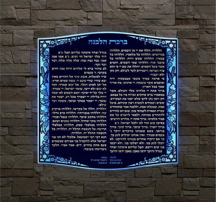 ברכת הלבנה לחוץ בית הכנסת על הקיר
